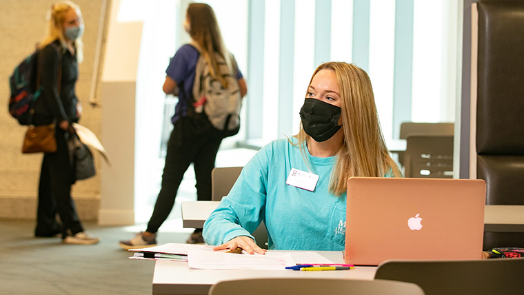 Nursing student studying in O'Reilly Clinical Health Sciences Center.
