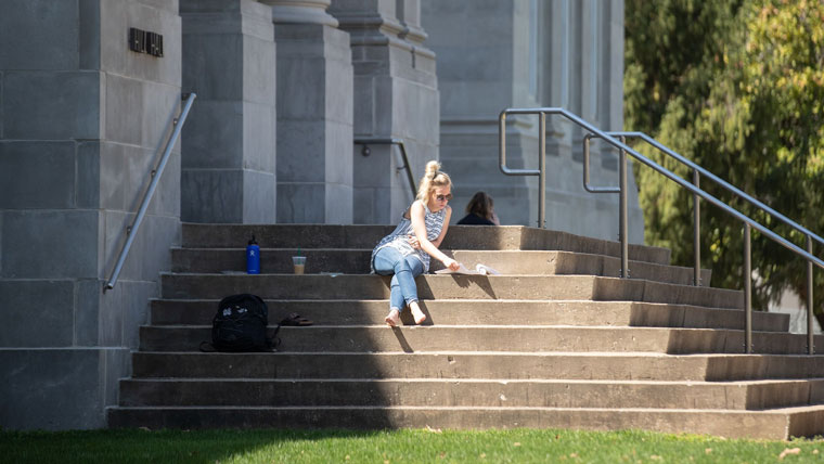Student on Missouri State campus