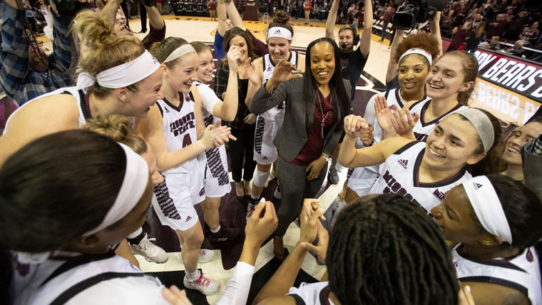 Missouri State Lady Bears cheering after winning another game