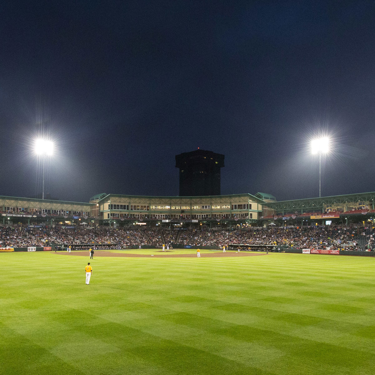 Nighttime at Hammons Field as seen from outfield.
