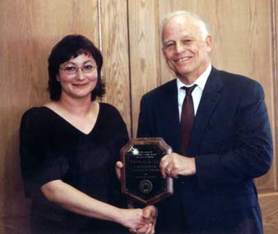 Faculty recipient Maria Michalczyk-Lillich with President Keiser