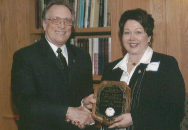 Dean Curtis P. Lawrence with staff recipient Debbie Goodale