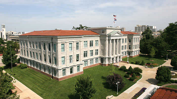 Aerial view of Strong Hall.