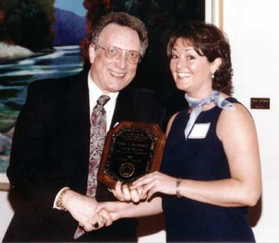 Dean Curtis P. Lawrence with recipient Caron Daugherty