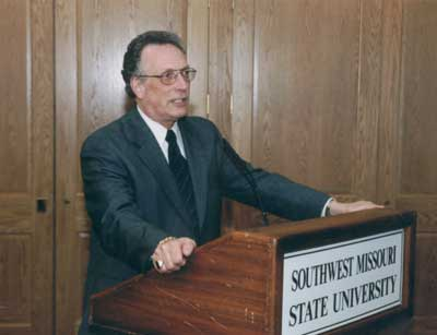 Dean Curtis P. Lawrence making comments at the 2002 Excellence in Advising Award Reception