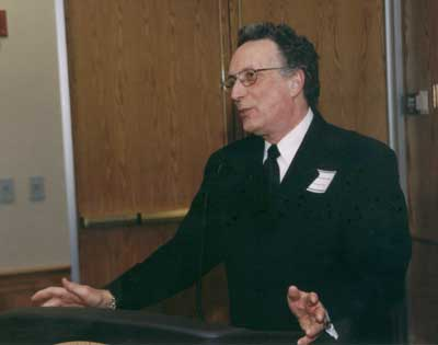 Dean Curtis P. Lawrence making comments at the 2003 excellence in Advising Award Reception