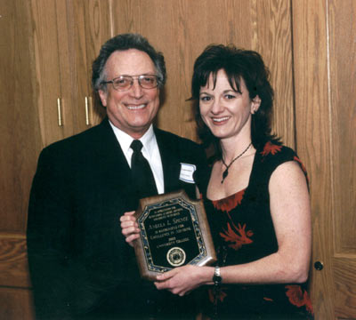 Dean Curtis P. Lawrence with staff recipient Angela Spence