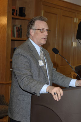 Dean Curtis P. Lawrence making comments at the 2005 Excellence in Advising Award Reception