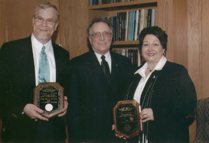 Dean Curtis P. Lawrence with faculty recipient George Connor and staff recipient Debbie Goodale