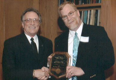 Dean Curtis P. Lawrence with faculty recipient George Connor