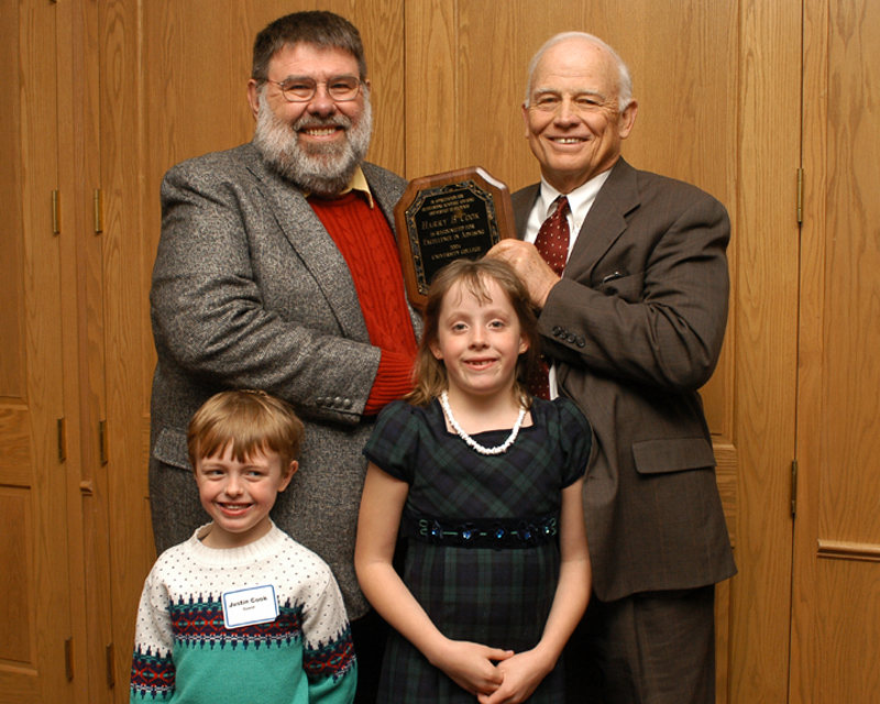 Harry Cook and children with President Keiser