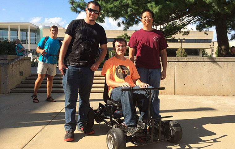 Electrical engineering students participating in the electric go-cart contest