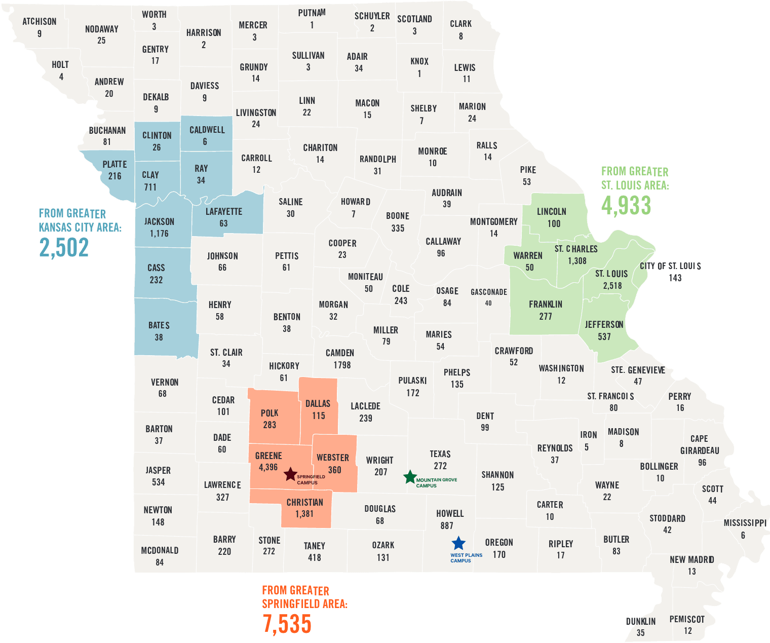 Missouri map of student enrollment