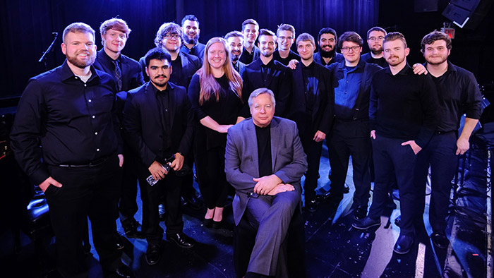 Missouri State jazz students pose with Professor Randy Hamm